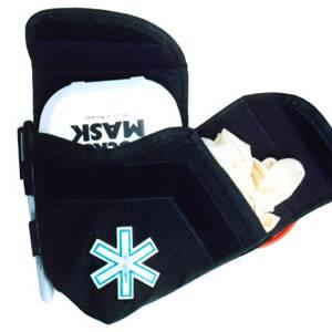 Étui masque de poche, ciseaux et gants avec croix de vie