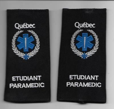 Épaulettes Étudiant Paramédic Québec